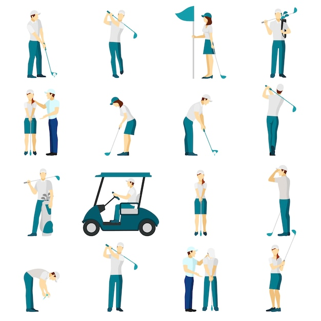 Conjunto plano de golf personas vector gratuito