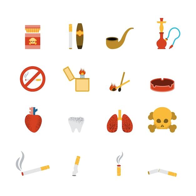 Conjunto plano de icono de fumar vector gratuito