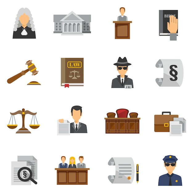 Conjunto plano de iconos de ley vector gratuito