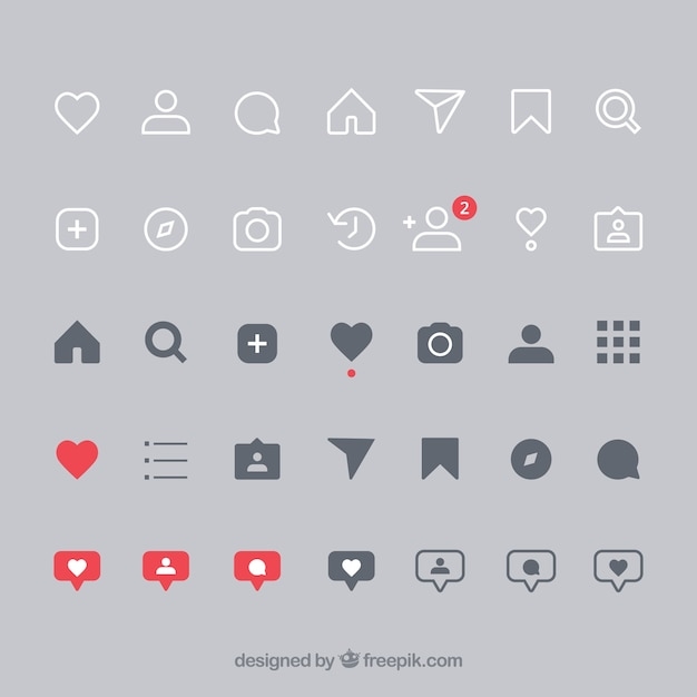 Conjunto plano de iconos y notificaciones de instagram Vector Premium