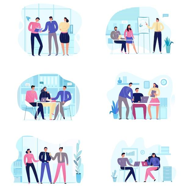 Conjunto plano de iconos con varias escenas de reuniones de negocios aisladas en blanco vector gratuito