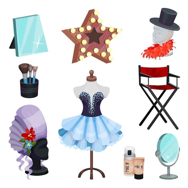 Conjunto plano de iconos de vestidor. vestido en maniquí, espejos de mesa, elementos de disfraces, maquillaje cosmético Vector Premium
