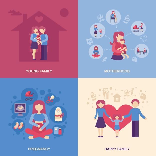 Conjunto plano de maternidad vector gratuito