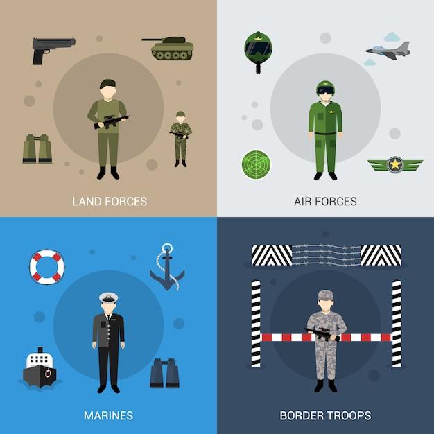 Conjunto plano militar Vector Premium