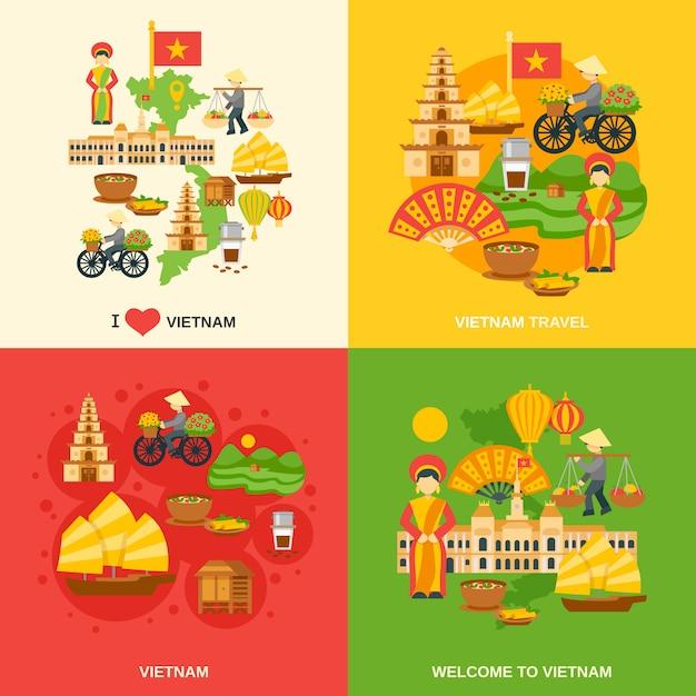 Conjunto plano de vietnam vector gratuito