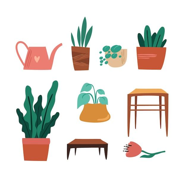 Conjunto de plantas caseras vector gratuito