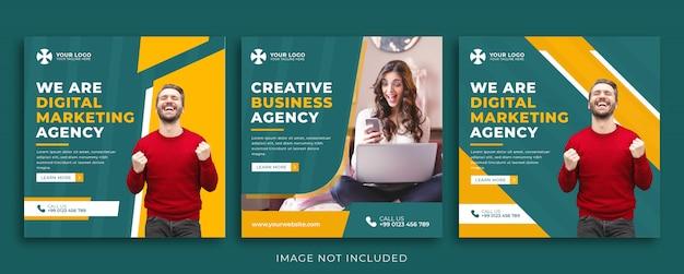 Conjunto de plantilla de banner de agencia de marketing para redes sociales Vector Premium