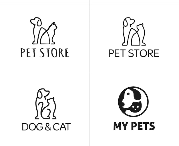 Conjunto de plantilla de diseño de logotipo de mascotas perro y gato lineal Vector Premium