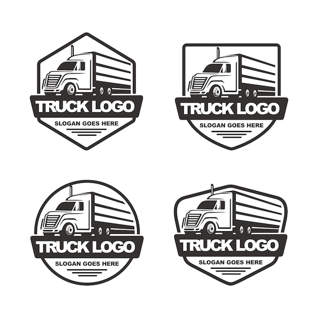 Conjunto de plantilla de logotipo de camión Vector Premium