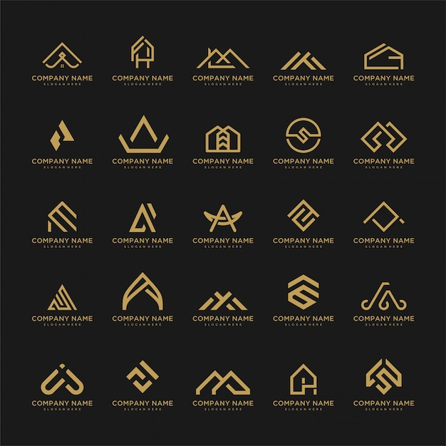 Conjunto de plantilla de logotipo. iconos inusuales para negocios universales de lujo, elegantes, simples. Vector Premium