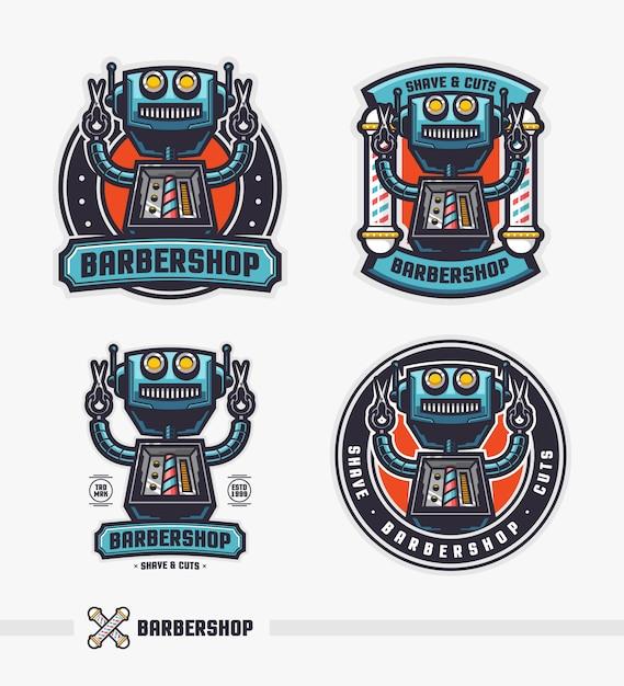 Conjunto de plantilla de logotipo de insignia retro robot barbería Vector Premium