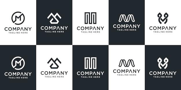 Conjunto de plantilla de logotipo de letra m creativa Vector Premium
