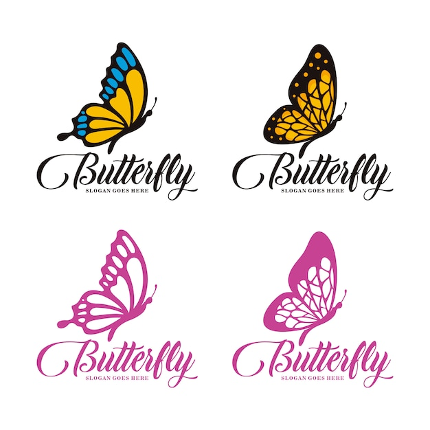 Conjunto de plantilla de logotipo de mariposa Vector Premium