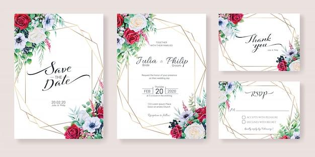 Conjunto de plantilla de tarjeta de invitación de boda. flor de invierno, estilo acuarela. Vector Premium