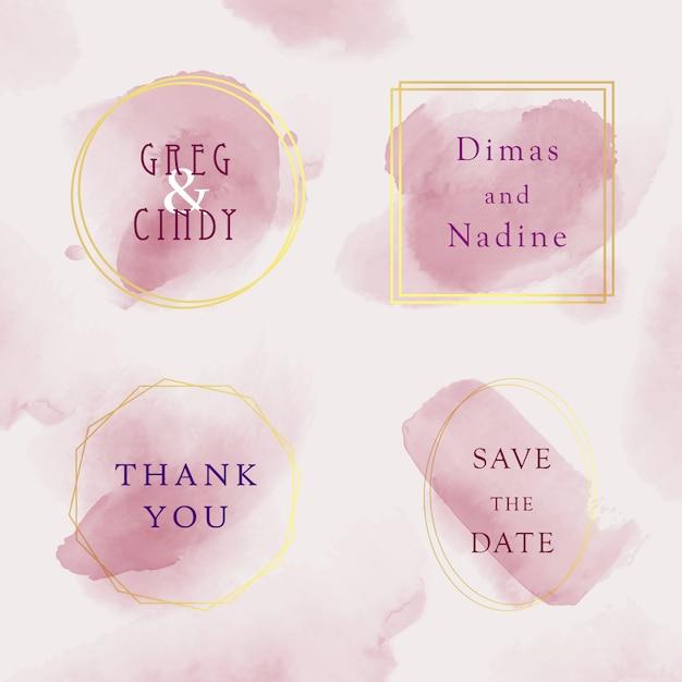 Conjunto de plantilla de tarjeta de invitación de boda, marco dorado acuarela con estilo de color rosa Vector Premium