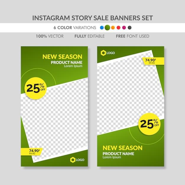 Conjunto de plantillas de banner de venta de historia de instagram verde Vector Premium
