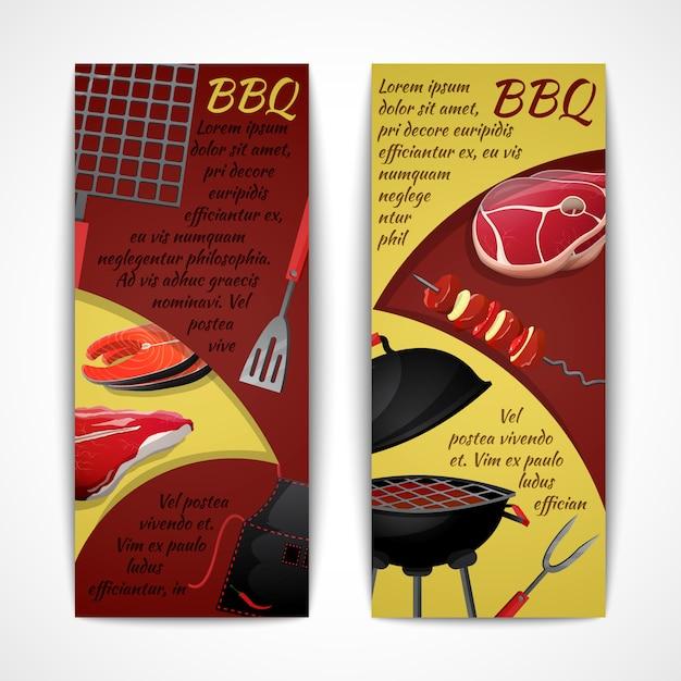 Conjunto de plantillas de banners de barbacoa Vector Premium