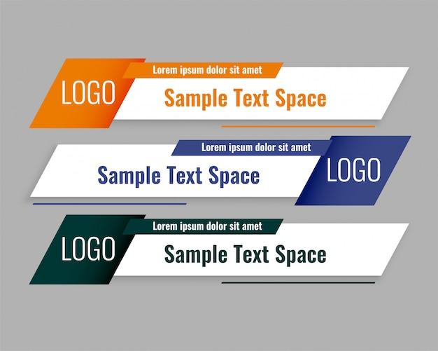 Conjunto de plantillas de banners de tercio inferior inferior de estilo moderno vector gratuito