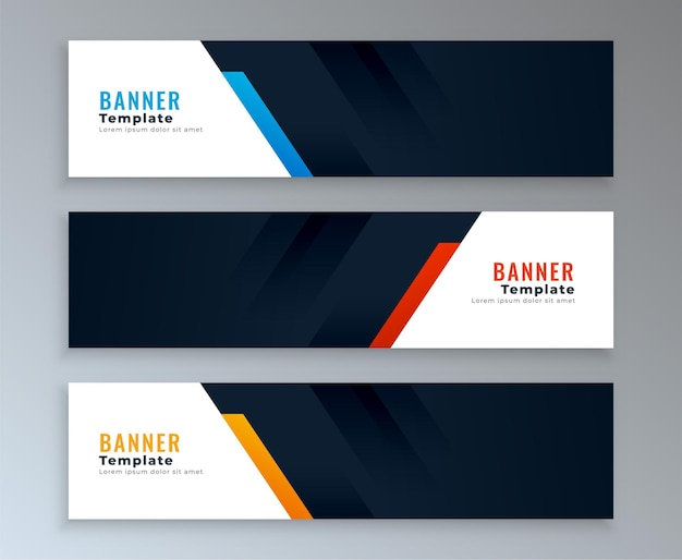 Conjunto de plantillas de banners web con espacio de texto vector gratuito