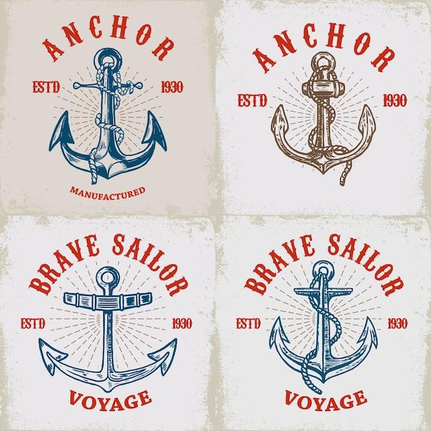 Conjunto de plantillas de carteles con anclajes. elementos para logotipo, etiqueta, emblema, signo. ilustración Vector Premium