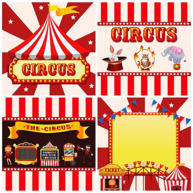 Conjunto de plantillas de circo. vector gratuito