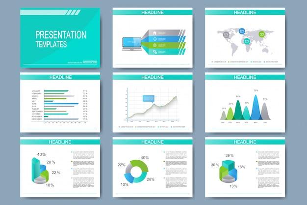 Conjunto de plantillas para diapositivas de presentación multipropósito. diseño de negocios moderno con gráficos y tablas. Vector Premium