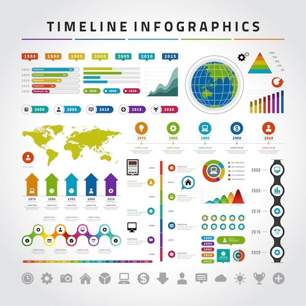 Conjunto de plantillas de diseño de infografías de línea de tiempo Vector Premium