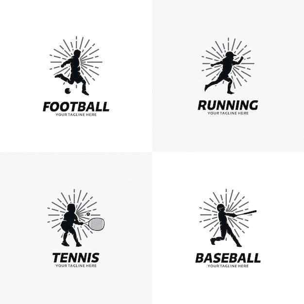 Conjunto de plantillas de diseño de logotipo deportivo Vector Premium