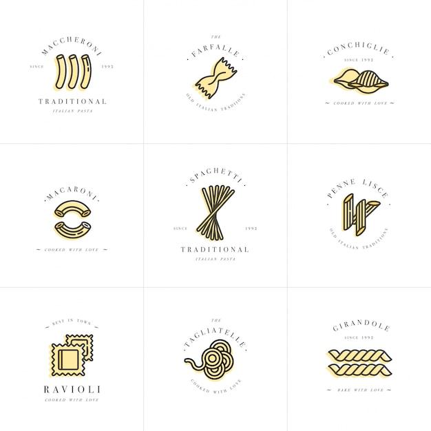 Conjunto de plantillas de diseño de logotipos y emblemas o insignias. pasta italiana: fideos, macarrones. logotipos lineales. Vector Premium