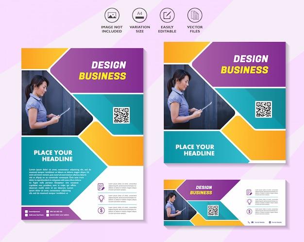 Conjunto de plantillas de diseño de negocios para redes de soluciones móviles de marketing digital Vector Premium