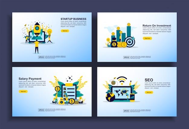 Conjunto de plantillas de diseño plano moderno para negocios, inicio, retorno de la inversión, pago de salarios, seo. Vector Premium