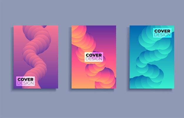 Conjunto de plantillas de diseño de portadas con fondo degradado vibrante Vector Premium