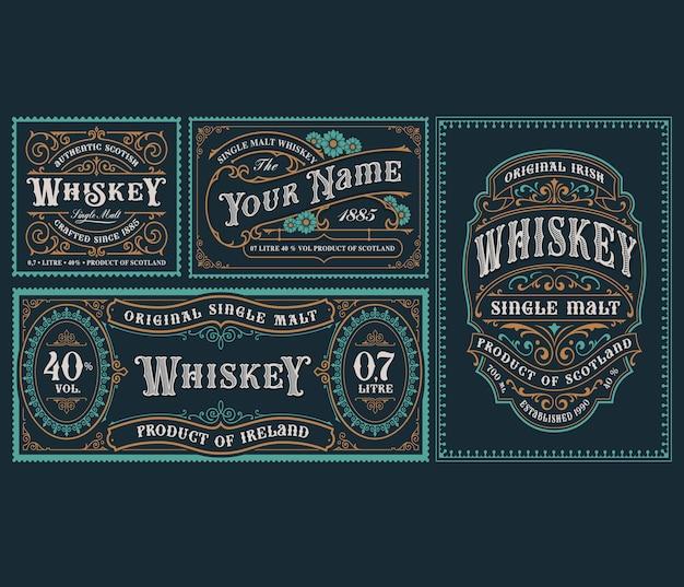 Un conjunto de plantillas de etiquetas de alcohol vintage para envases y muchos otros usos. Vector Premium