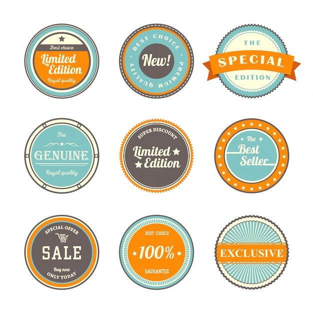 Conjunto de plantillas de etiquetas vintage Vector Premium