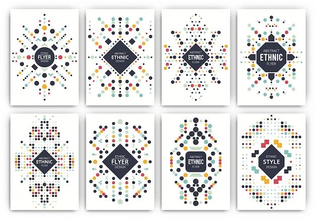 Conjunto de plantillas de folleto de estilo étnico Vector Premium