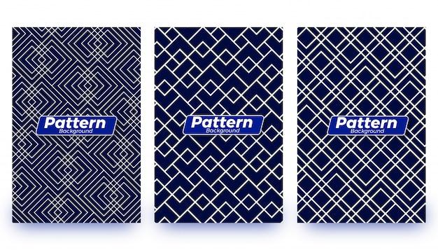 Conjunto de plantillas de fondo patrón abstracto Vector Premium