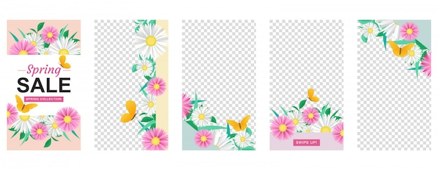 Conjunto de plantillas de historia de flores con formas geométricas Vector Premium