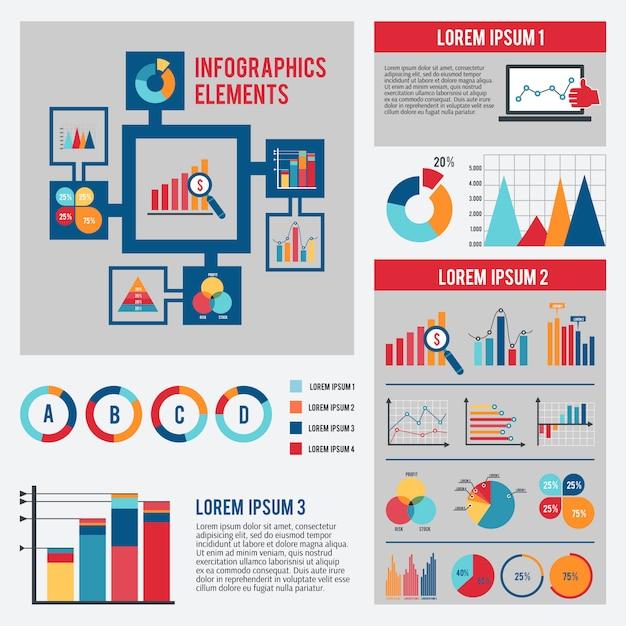 Conjunto de plantillas de infografía gráfico de negocios vector gratuito
