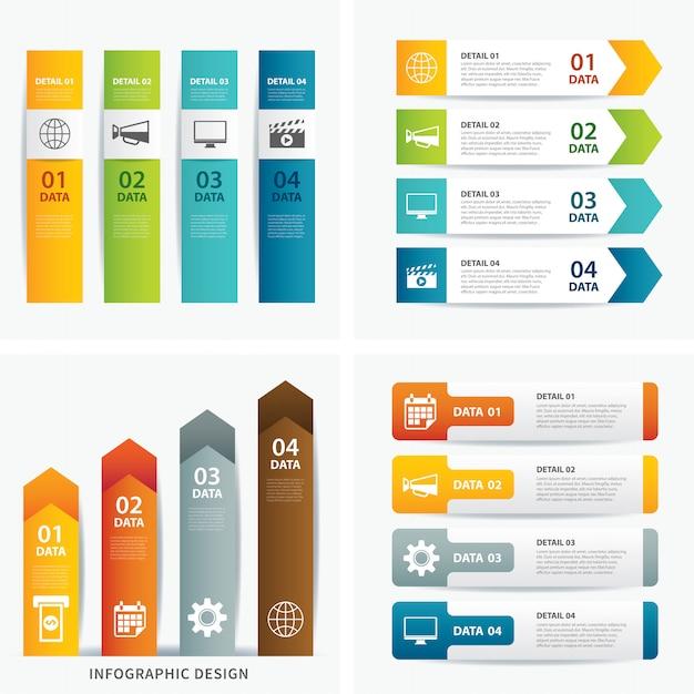 Conjunto de plantillas infográficas Vector Premium