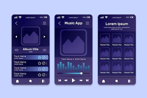 Conjunto de plantillas de interfaz de la aplicación del reproductor de música vector gratuito