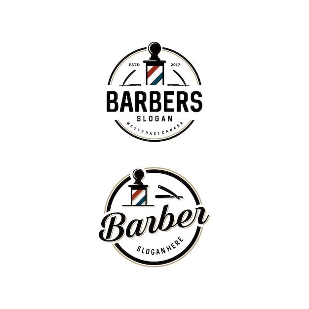 Conjunto de plantillas de logotipo de barber shop Vector Premium