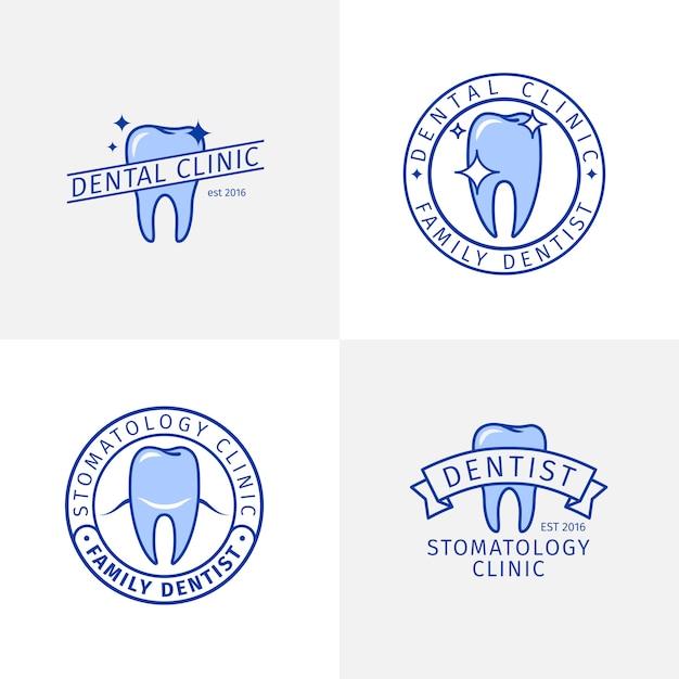Conjunto de plantillas de logotipo de contorno azul clínica dental Vector Premium