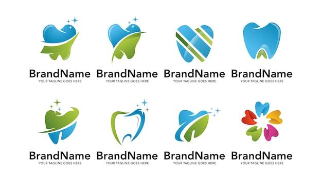 Conjunto de plantillas de logotipo de dentista dental Vector Premium