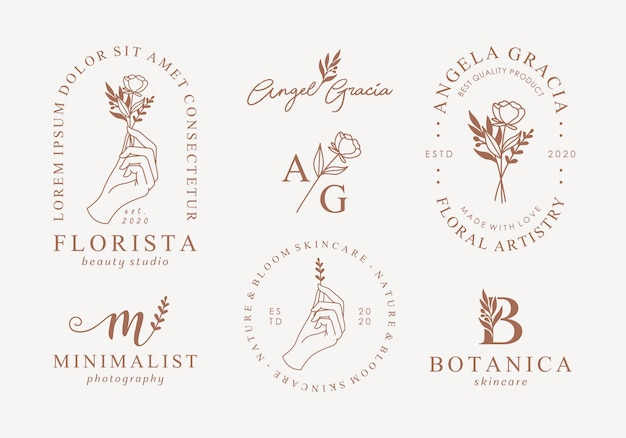 Conjunto de plantillas de logotipo femenino dibujado a mano Vector Premium
