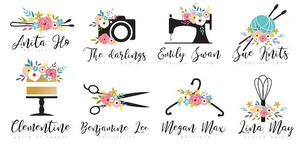 Conjunto de plantillas de logotipo floral para pequeñas empresas Vector Premium
