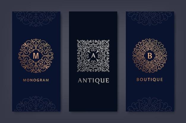Conjunto de plantillas de logotipo, folletos en estilo lineal moderno con flores y hojas. Vector Premium