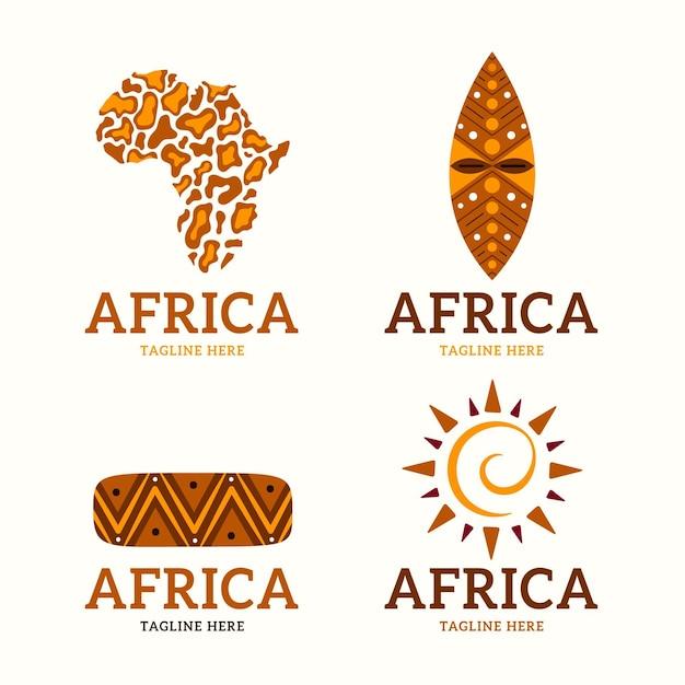 Conjunto de plantillas de logotipo de mapa de áfrica vector gratuito
