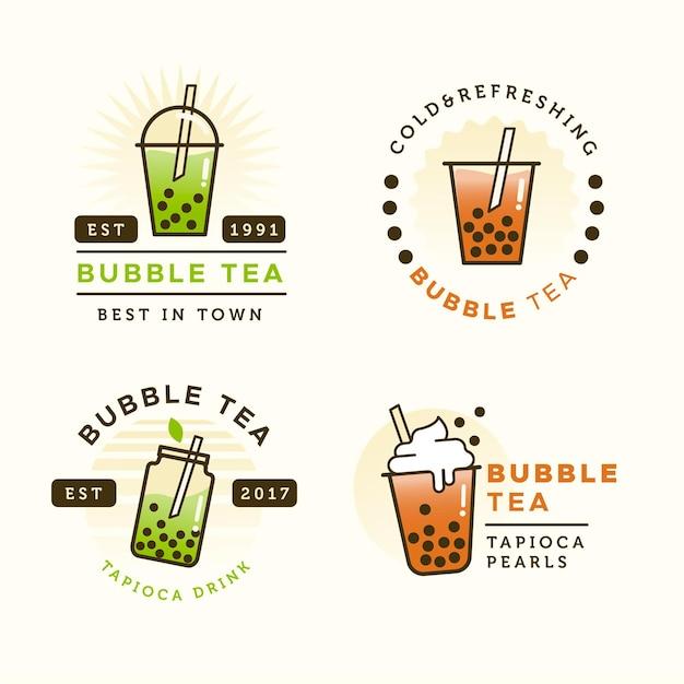 Conjunto de plantillas de logotipo de té de burbujas Vector Premium