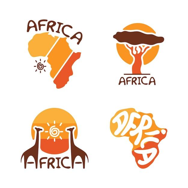 Conjunto de plantillas de logotipos africanos vector gratuito
