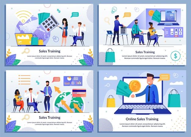 Conjunto de plantillas planas de coaching de ventas y capacitación en línea Vector Premium